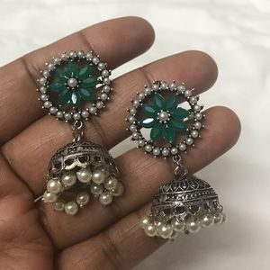 Flower Emerald Green Jhumka